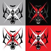 Tribal Wolf Emblem Tatoo for Big Motorcycle Biker
