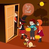 Trick Or Treat, Children And Man Open Door