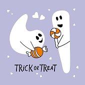 trick treat halloween card two cute