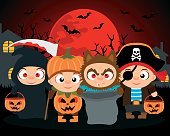 Trick or Treat ,Halloween vector background with kids