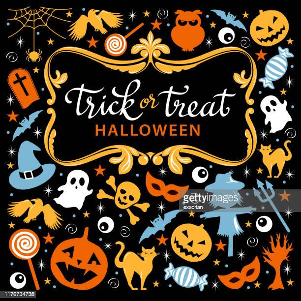 trick or treat icon set - {{asset.href}} stock-grafiken, -clipart, -cartoons und -symbole