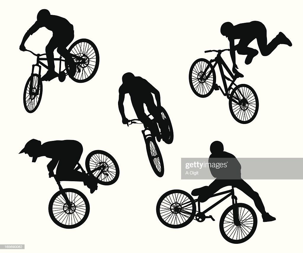 BMX Tricks Vector Silhouette