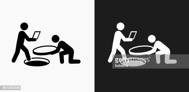 tricky business icon on black and white vector backgrounds - conspiracy stock illustrations, clip art, cartoons, & icons