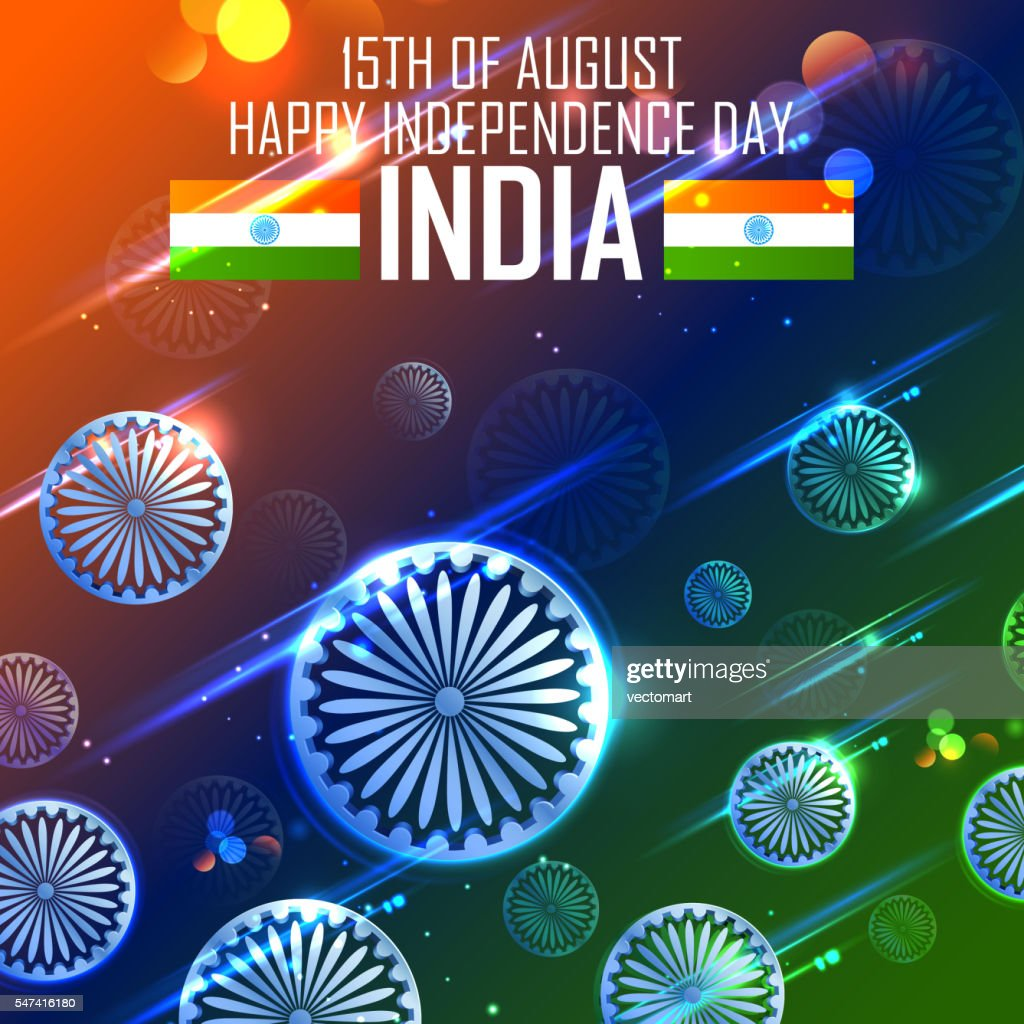 Tricolor and Ashoka Chakra for Happy Independence Day of Indian