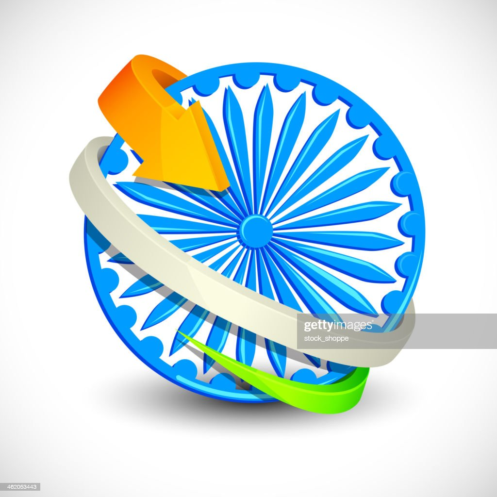 Tricolor Arrow around Ashoka Chakra