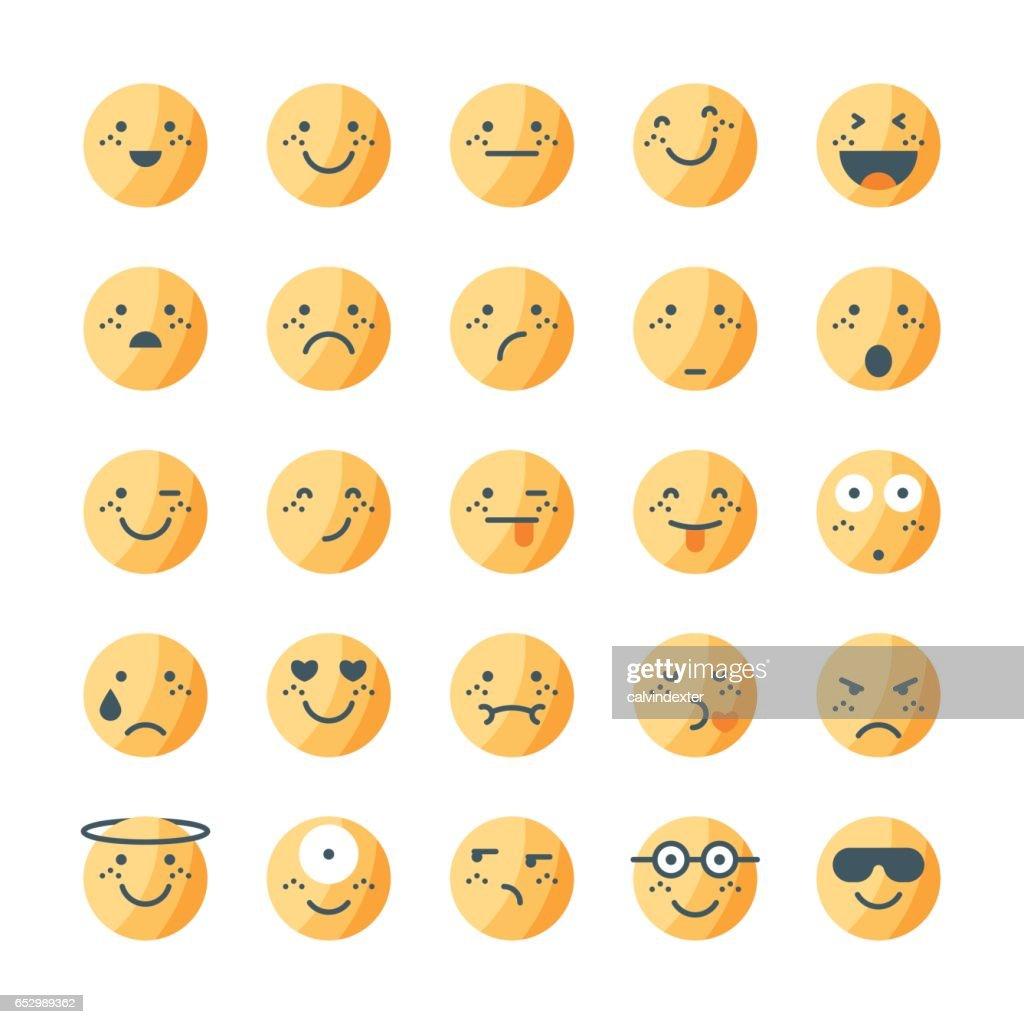 Tricolor emoticons collection set 1