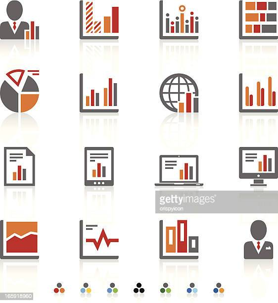 Tri-color icons of different types of graphs