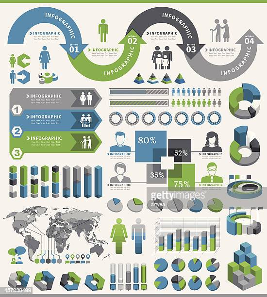 tricolor infographic elements on white background - population explosion stock illustrations, clip art, cartoons, & icons