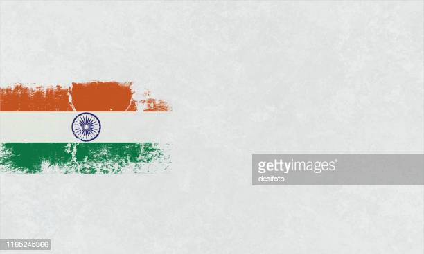 tricolor postcard - a grunge horizontal vector illustration of indian national flag, three colored horizontal bands of saffron or orange, white and green colors, over white background - rot stock illustrations