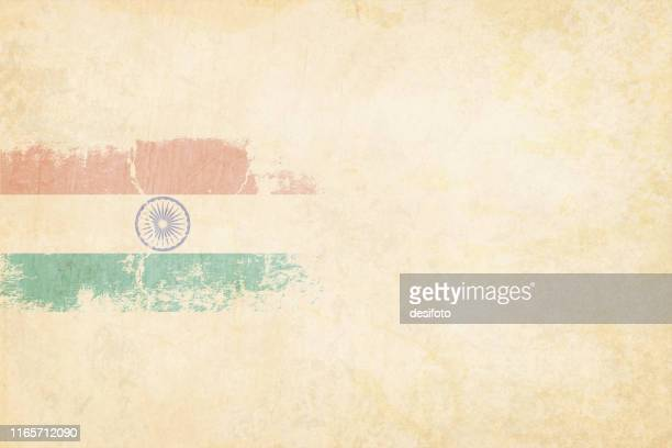 tricolor postcard - a grunge horizontal vector illustration of indian national flag, three colored horizontal bands of saffron or orange, white and green colors, over beige background - indian flag stock illustrations