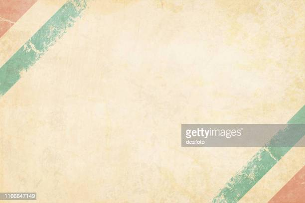 tricolor postcard - a grunge horizontal vector illustration of triangular indian national flag, three colored horizontal bands of saffron or orange, white and green colors, over off white background - cream colored stock illustrations