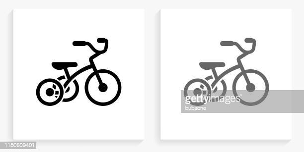 Tricycle Black and White Square Icon
