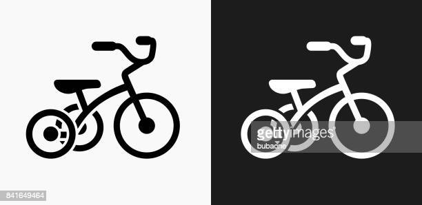 Tricycle Icon on Black and White Vector Backgrounds