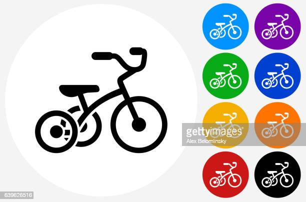 Tricycle Icon on Flat Color Circle Buttons