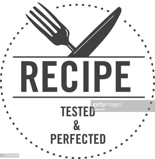 テストキッチンやブログのレシピのためのテキストで試行錯誤されたレシピ承認ラベルのデザイン - レシピ点のイラスト素材/クリップアート素材/マンガ素材/アイコン素材
