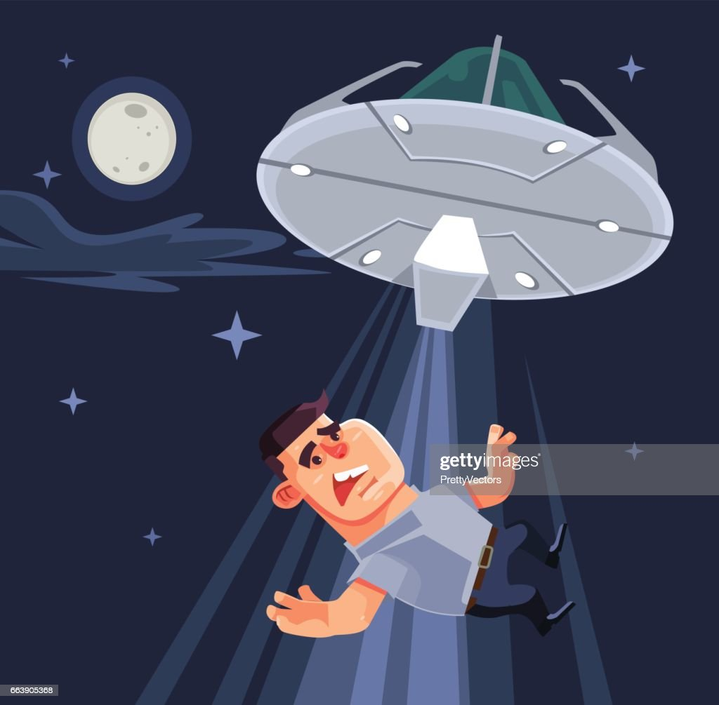 UFO tries to abduct man characters