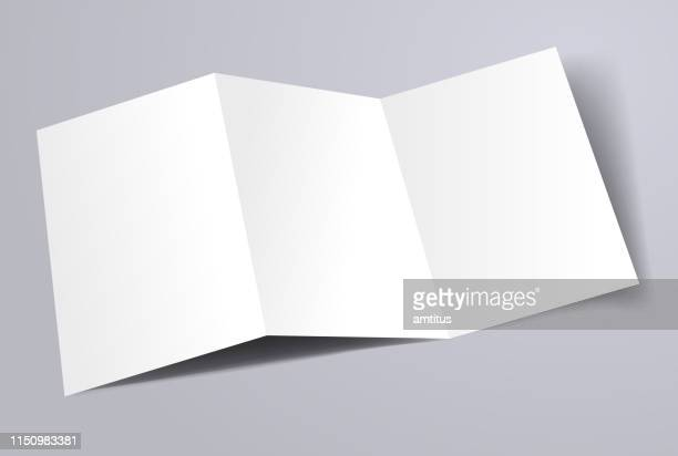 trifold a4 brochure template - folded stock illustrations