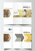 Tri-fold brochure business templates on both sides. Easy editable