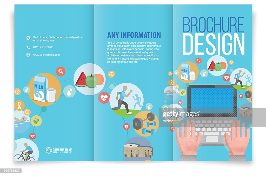trifold brochure design on healthy life vector art getty images