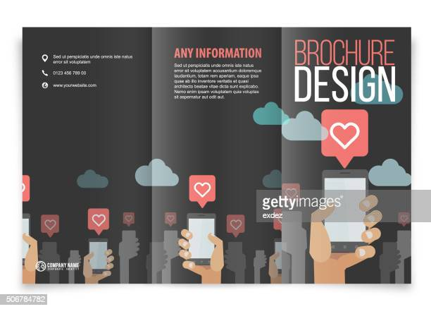 Tri-fold brochure design on smartphone likes