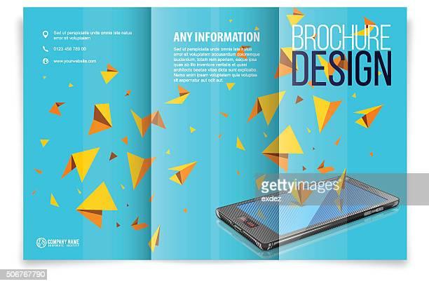 Dreifach gefaltete Broschüre design auf dem smartphone