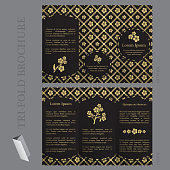 Tri-fold brochure template with forget-me-not flower