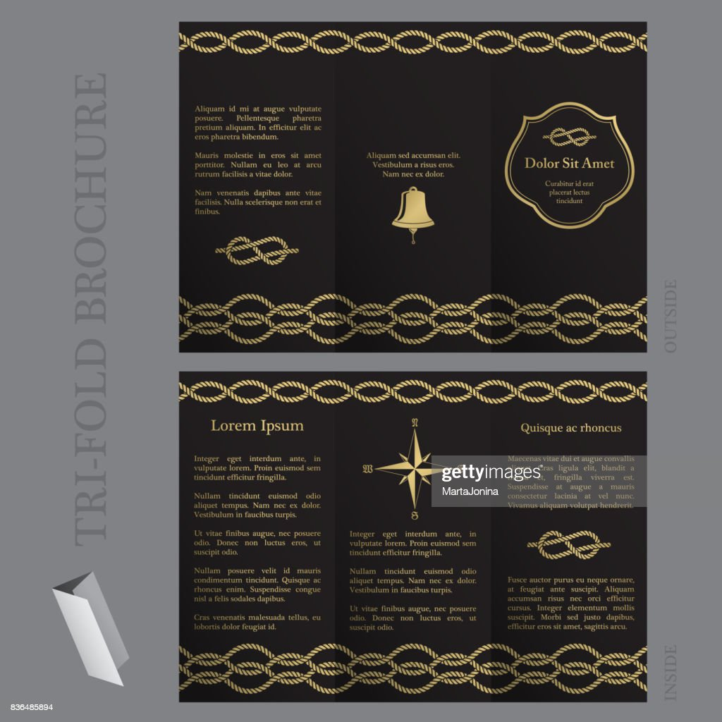 Tri-fold brochure template with nautical elements