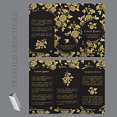 Tri-fold brochure template with roses