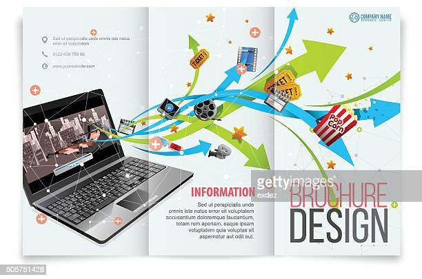 tri-fold template design on film entertainment - printout stock illustrations