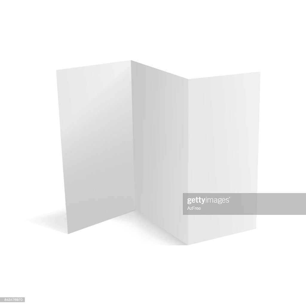 Trifold white template paper. Vector illustration.