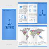 Tri-fold world map brochure template. The most visited countries in the world.