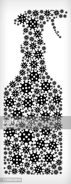 trigger spray bottle flu coronavirus icon pattern - trigger stock illustrations