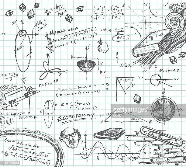 trigonometry math class doodle - note pad stock illustrations