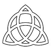 Trikvetr knot with circle Power of three viking symbol tribal for tattoo Trinity knot icon black color outline vector illustration flat style image