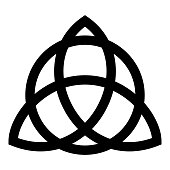 Trikvetr knot with circle Power of three viking symbol tribal for tattoo Trinity knot icon black color vector illustration flat style image