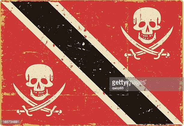 トリニダードトバゴ国旗に海賊頭蓋骨 - 海賊旗点のイラスト素材/クリップアート素材/マンガ素材/アイコン素材