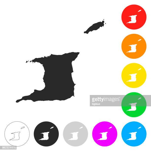 トリニダード ・ トバゴの地図 - 別の色ボタンのフラット アイコン - トリニダードトバゴ共和国点のイラスト素材/クリップアート素材/マンガ素材/アイコン素材