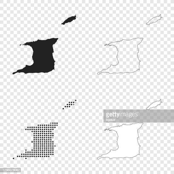 デザインのためのトリニダード・トバゴ地図 - 黒、輪郭、モザイク、白 - トリニダードトバゴ共和国点のイラスト素材/クリップアート素材/マンガ素材/アイコン素材