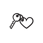 Trinket for keys as heart sketch icon