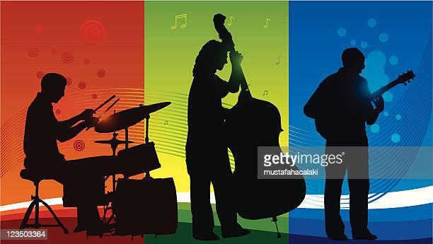 trio band - jazz stock illustrations, clip art, cartoons, & icons