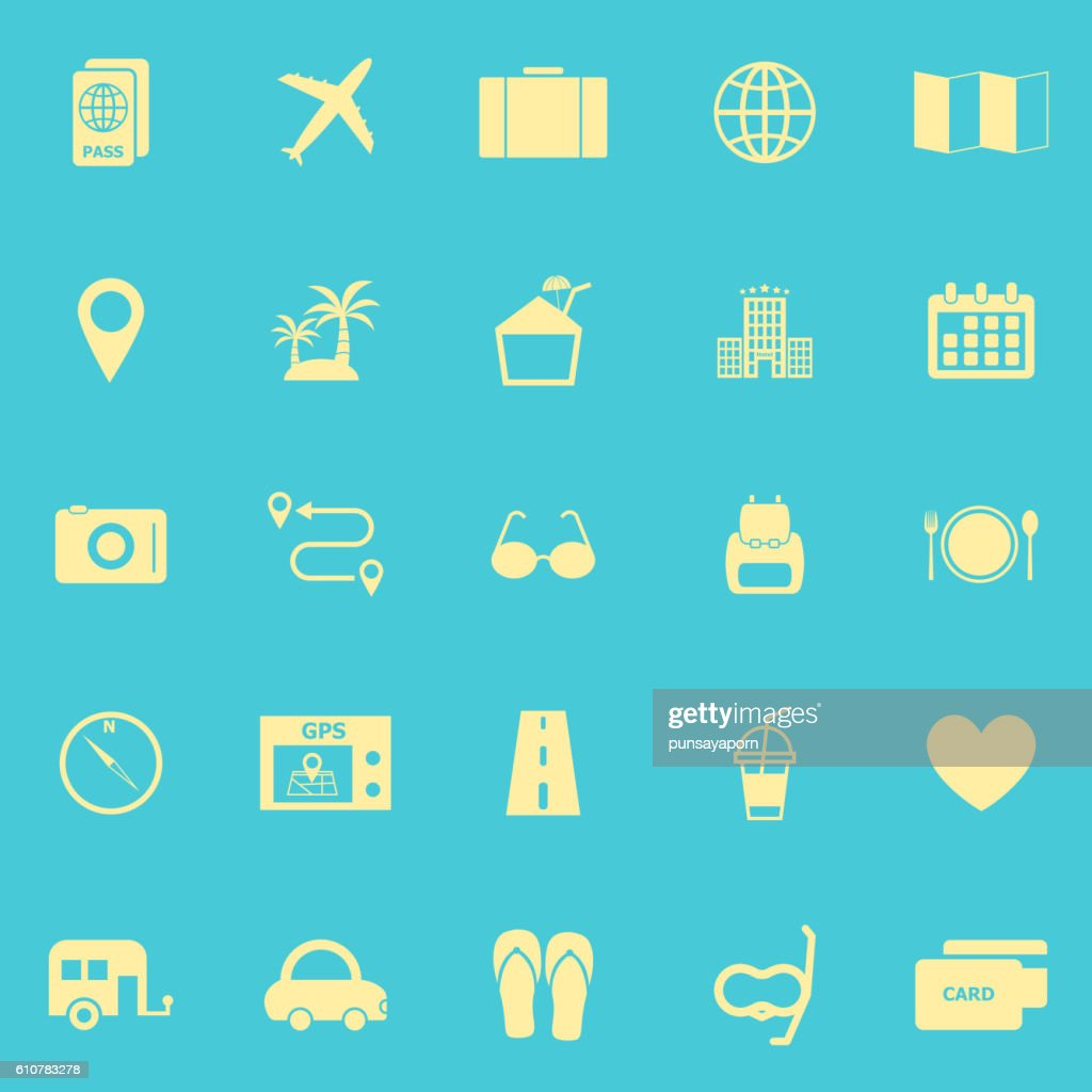 Trip color icons on blue background