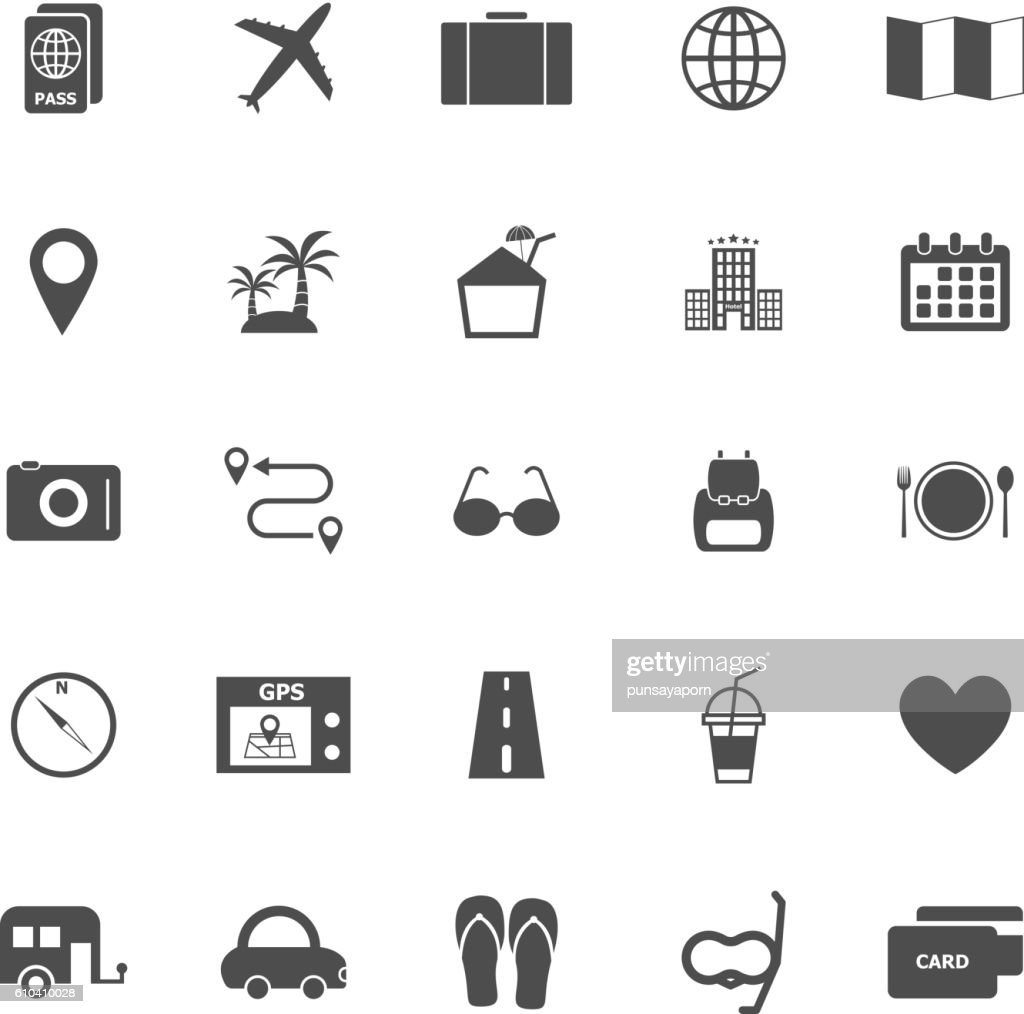 Trip icons on white background