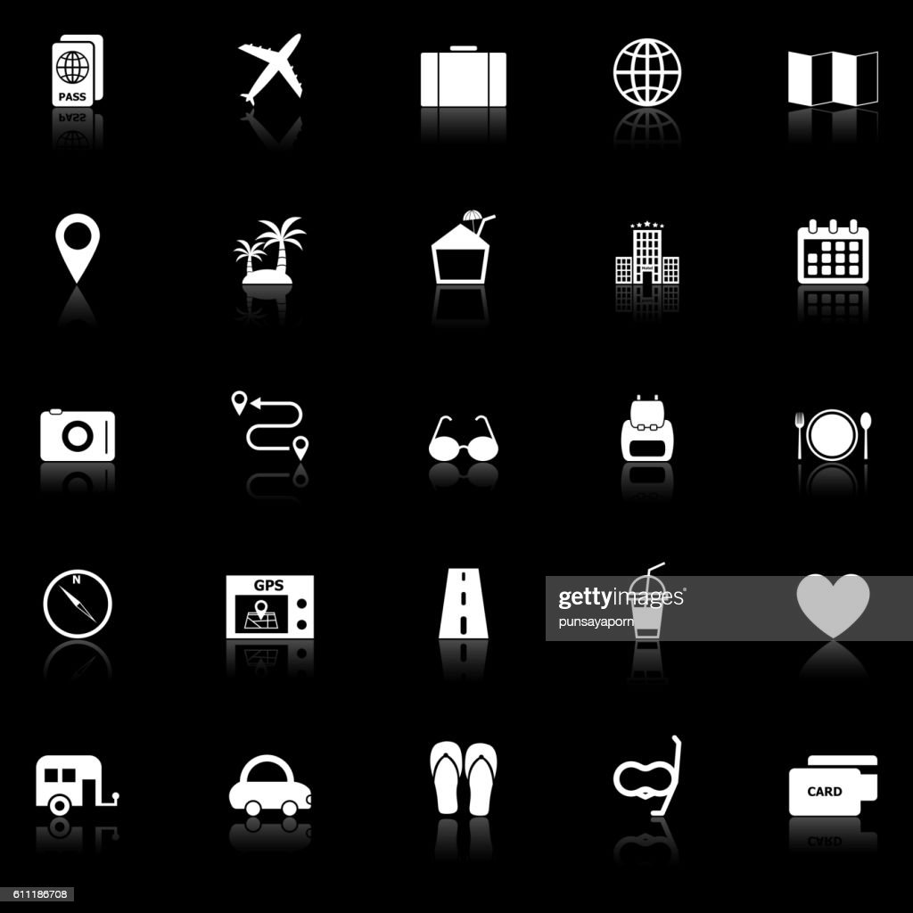 Trip icons with reflect on black background
