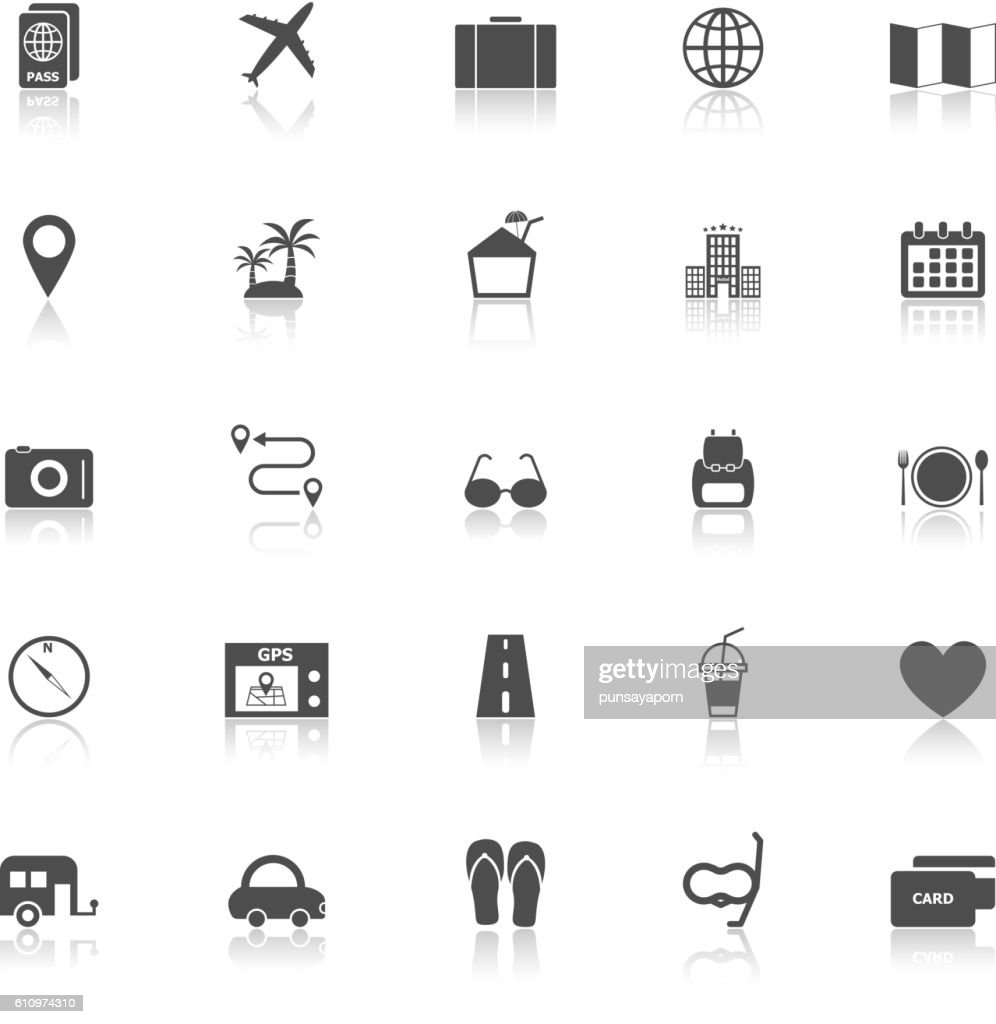 Trip icons with reflect on white background