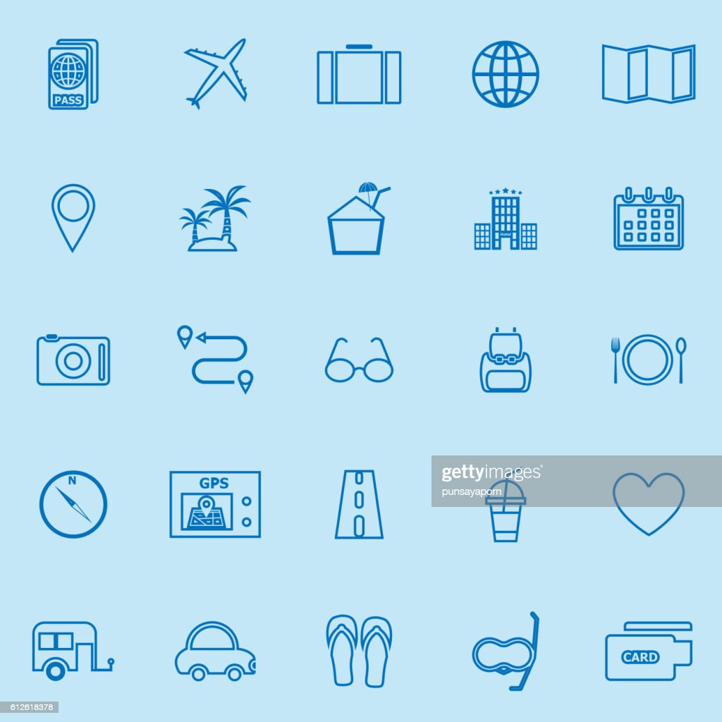 Trip line color icons on blue background