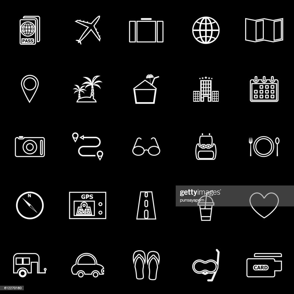 Trip line icons on black background