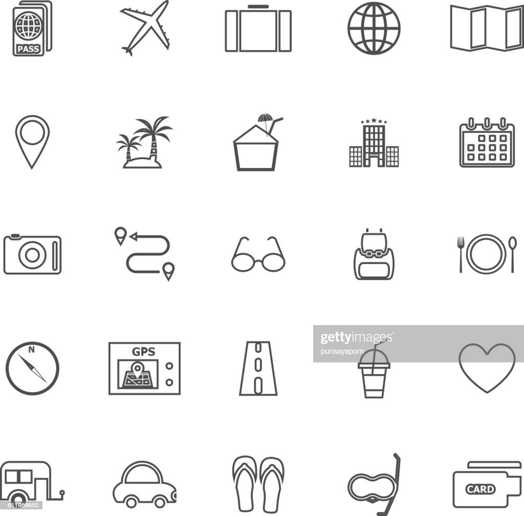 Trip line icons on white background