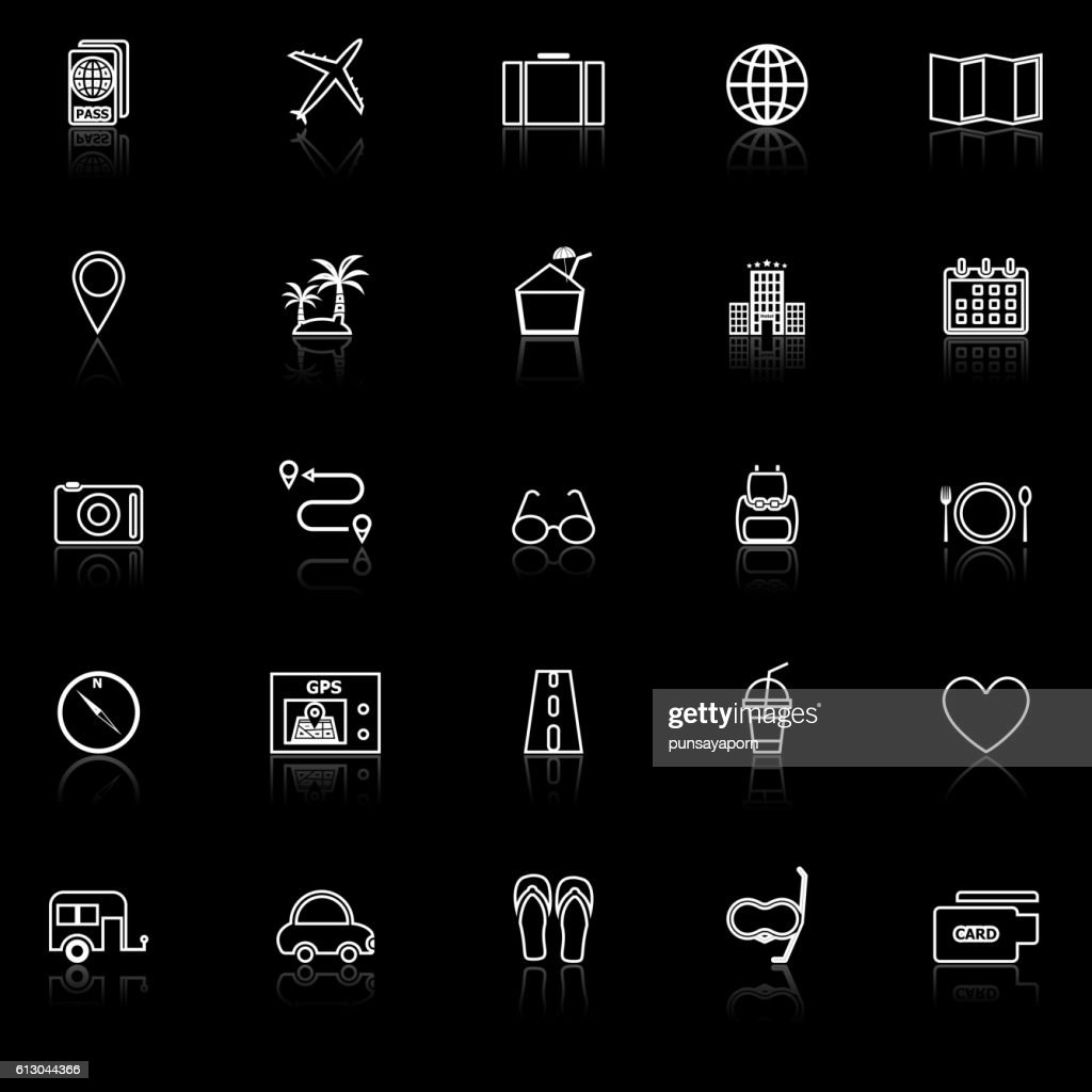 Trip line icons with reflect on black background
