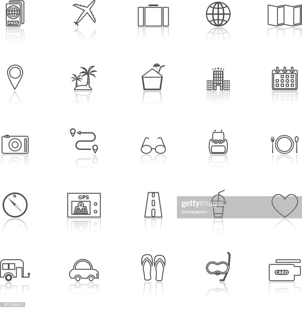 Trip line icons with reflect on white background