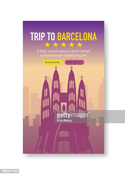 trip to barcelona banner - barcelona stock illustrations, clip art, cartoons, & icons